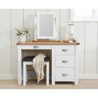 Product photograph showing Somerset Oak And White Dressing Table Set