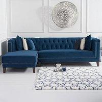 Tammie Blue Velvet Left Facing 4 Seater Corner Chaise Sofa