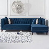 Tammie Blue Velvet Right Facing 4 Seater Corner Chaise Sofa