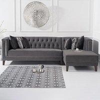 Tammie Grey Velvet Right Facing 4 Seater Corner Chaise Sofa