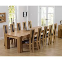 Product photograph showing Thames 300cm Oak Dining Table With Toronto Chairs - Cream 8 Chairs