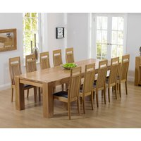 Read more about Thames 300cm oak dining table with monaco chairs - cream- 8 chairs