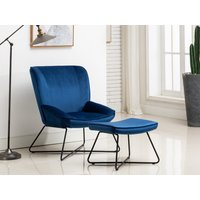 Product photograph showing Telford Blue Chair And Stool