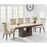 Tenore 180cm Marble Effect Dining Table with Angelica Chairs