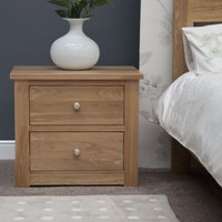 Product photograph showing Messina Oak Wide Bedside Chest