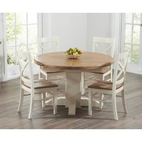 Torino 150cm Oak and Cream Pedestal Dining Table with Cavendish Chairs - Cream, 4 Chairs