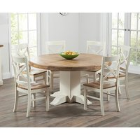 Torino Oak and Cream Extending Pedestal Dining Table with Cavendish Chairs - Cream, 4 Chairs