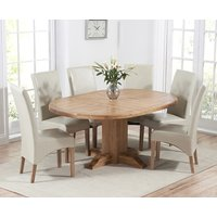 Torino Solid Oak Extending Pedestal Dining Table with Cannes Chairs - Black, 4 Chairs