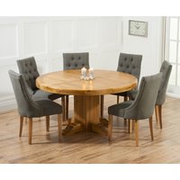 Torino 150cm Solid Oak Round Pedestal Dining Table with 4 Pacific Fabric Chairs