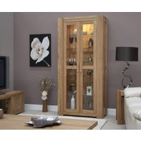 Product photograph showing Milan 190cm Oak Glazed Display Cabinet