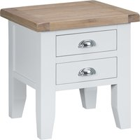 Product photograph showing Eden Oak And White 2 Drawer Side Table