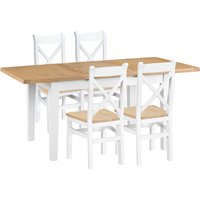 Eden Oak and White 120cm Butterfly Extending Table with Cross Back Dining Chairs - Oak and White, 4 Chairs