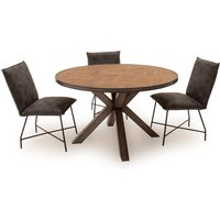 Product photograph showing Vanya Round Dining Table With Lukas Chairs - Brown 4 Chairs