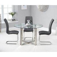 Vaso 120cm Round Glass Dining Table With Lorin Dining Chairs - Cream, 4 Chairs