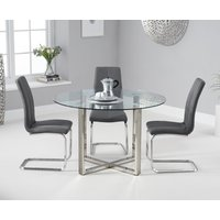 Vaso 120cm Round Glass Dining Table With Tarin Dining Chairs - Cream, 4 Chairs