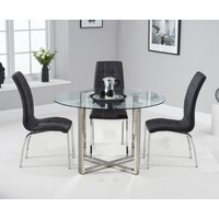 Vaso 120cm Round Glass Dining Table with Calgary Chairs - Ivory, 4 Chairs