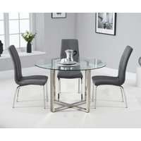 Vaso 120cm Round Glass Dining Table with Cavello Chairs - Black, 4 Chairs