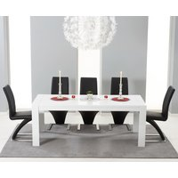 Venice 200cm White High Gloss Extending Dining Table with Hampstead Z Chairs