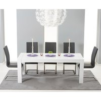 Venice 200cm White High Gloss Extending Dining Table with Malaga Chairs