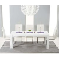 Read more about Ex-display venice 200cm white high gloss extending dining table with 4 white malaga chairs