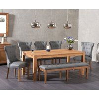 Verona 180cm Solid Oak Dining Table with Camille Grey Faux Leather Chairs and Camille Faux Leather Bench - Grey, 2 Chairs
