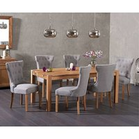 Product photograph showing Ex-display Verona 180cm Solid Oak Dining Table With 4 Grey Camille Fabric Chairs