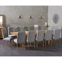 Verona 180cm Solid Oak Extending Dining Table with Claudia Fabric Chairs