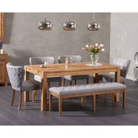 Verona 180cm Solid Oak Dining Table and Isobel Fabric Chairs and Camille Grey Fabric Bench - Grey, 2 Chairs