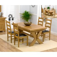 Bordeaux 160cm Solid Oak Extending Dining Table with Vermont Chairs - Grey, 4 Chairs
