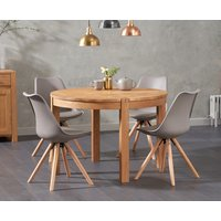 Verona 110cm Oak Round Dining Table with Oscar Faux Leather Round Leg Chairs