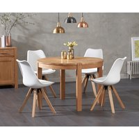 Verona 110cm Oak Round Dining Table with Oscar Faux Leather Square Leg Chairs