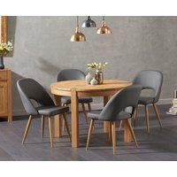 Verona 110cm Oak Round Dining Table with Halifax Faux Leather Chairs - Grey, 4 Chairs