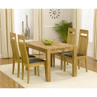 Read more about Verona 120cm solid oak dining table with monaco chairs - brown- 4 chairs