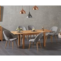 Verona 120cm Solid Oak Extending Dining Table with Halifax Fabric Chairs - Grey, 4 Chairs