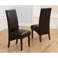 Product photograph showing Ex-display Set Of Two Wng Dark Faux Leather Brown Dining Chairs