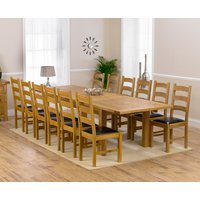Normandy 220cm Solid Oak Extending Dining Table with Vermont Chairs - Grey, 6 Chairs