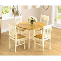 Ex-display Genoa 100cm Drop Leaf Extending Dining Table Set With TWO Chairs