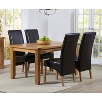 Product photograph showing Yateley 140cm Oak Dining Table With Cannes Chairs - Grey 4 Chairs