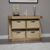 Product photograph showing Infinity Oak Designer Basket Console Table