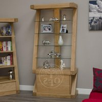 Product photograph showing Infinity Designer Oak And Glass Display Cabinet