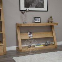 Product photograph showing Infinity Oak Designer Wide Hall Table With Shelf