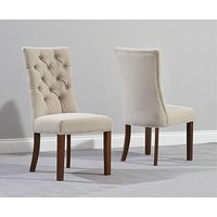 Product photograph showing Anais Beige Fabric Dark Oak Leg Dining Chairs