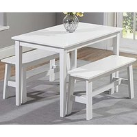 Read more about Chiltern 115cm white dining set with 2 chiltern benches
