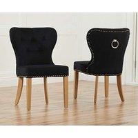 Knightsbridge Studded Black Fabric Oak Leg Dining Chairs