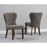Knightsbridge Studded Grey Fabric Dark Oak Leg Dining Chairs