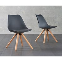 Product photograph showing Oscar Dark Grey Faux Leather Round Leg Dining Chairs