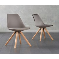 Product photograph showing Oscar Mink Faux Leather Round Leg Dining Chairs