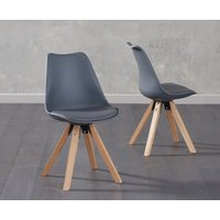 Product photograph showing Oscar Dark Grey Faux Leather Square Leg Dining Chairs