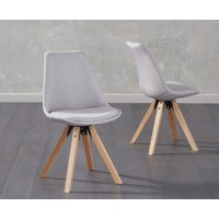 Read more about Oscar light grey fabric square leg dining chairs