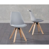 Product photograph showing Oscar Light Grey Faux Leather Square Leg Dining Chairs